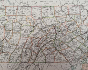 1898 Pennsylvania Large Original Antique A & C Black Map - United States - Victorian Wall Decor - Wedding Gift Idea