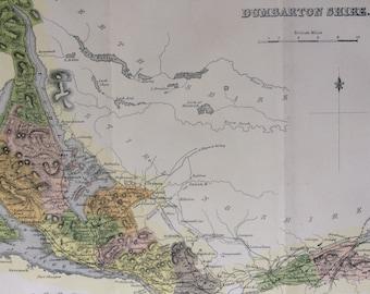 1882 Dumbarton Shire Original Antique Map - Scottish County, cartography, Scotland, Victorian Decor