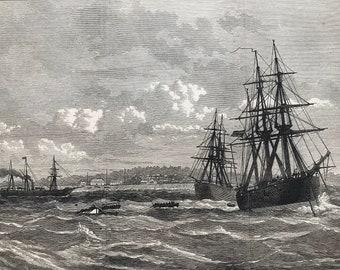 1877 The Blockade of Whydah: Sending mails to HMS Sirius Original Antique Engraving - Dahomey - Benin - Military Naval Decor