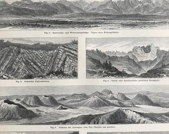1897 Mountain Formations Large Original Antique Lithograph - Available Mounted and Matted - Geology - Vintage Decor