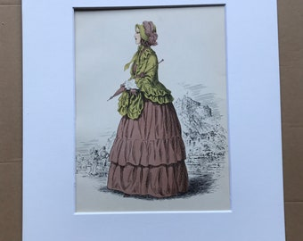 1949 Original Vintage Fashion Illustration - 1848 - The Pursuit of Fashion - Mounted and Matted - Available Framed
