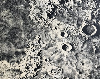 1913 Portion of the Moon (Alps, Archimedes, Apennines) Original Antique Print - Astronomy - Mounted and Matted - Available Framed