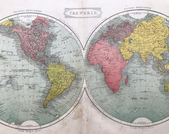 1863 The World Original Antique Map - World in Hemispheres