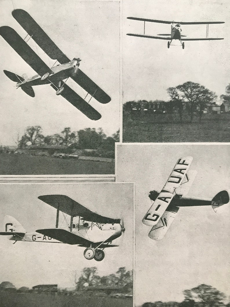Aircraft 1927 The DH Moth Airplane Mounted and Matted Available Framed Motor Car of the Air Original Vintage Print