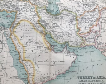 1912 Turkey in Asia, Arabia, Persia, Afghanistan & Baluchistan Original Antique Map - Mounted and Matted - Available Framed