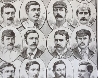 1888 Our Leading Cricketers Original Antique Lithograph - Sports - Cricket - Cricket Players - Gift for Sportsman - Antique Sporting Decor