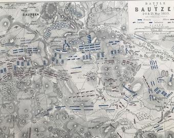 1875 Battle of Bautzen, 1813 Original Antique Map - Napoleonic Wars - Battle Map - Military History - Available Framed