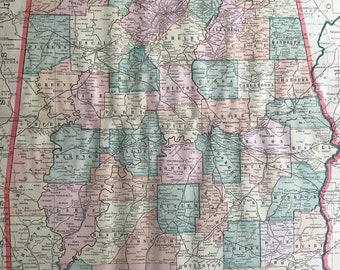 1907 Alabama Large Original Antique Map - Vintage Decor, United States, AL State Map