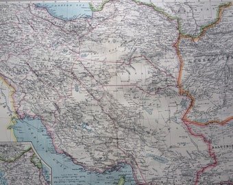 1903 Persia & the Afghan Frontier Large Original Antique Map, 15.5 x 20.5 inches, Harmsworth map, Afghanistan, Iran, Middle East Map