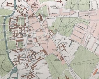 1898 Cambridge Original Antique Map - City Plan - England - English Town - Cartography - Gift Idea - Local History