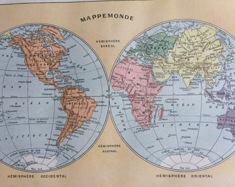 1923 The World in Hemispheres Original Antique Map - Mounted and Matted - Decorative Art - Wall Decor - Mappe Monde - Vintage World Map