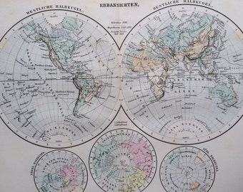 1880 The World in Hemispheres Original Antique Map, 10 x 12.75 inches, Home Decor, Cartography, Vintage Decor
