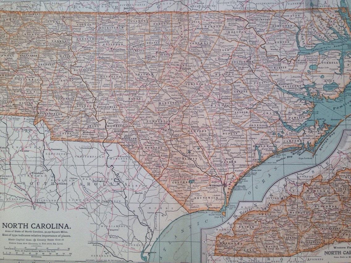 1903 North Carolina Original Large Antique Map - US State ...