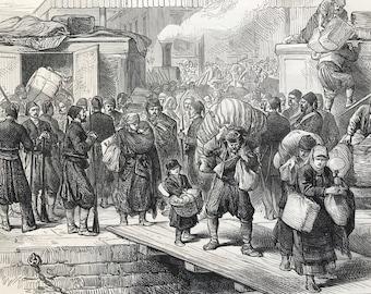 1877 The Railway Station at Rustchuk - Inhabitants leaving Original Antique Engraving - Russo-Turkish war - Ruse, Bulgaria - Military Decor