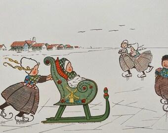 1898 Children of Holland 'On the Ice' Original Antique Edith Farmiloe Illustration - Nursery Decor - Available Framed