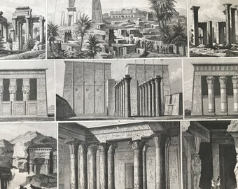 1849 Ancient Civilisations Large Original Antique Engraving - Mounted and Matted - Available Framed - Ancient Egypt - Victorian Decor