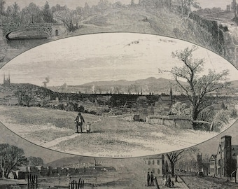 1874 Troy and Vicinity, New York Original Antique Wood Engraving - Mounted and Matted - Landscape - United States - Available Framed