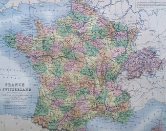 1859 FRANCE & SWITZERLAND Original Antique Map, 10.5 x 13.5 inches, historical wall decor, A K Johnson Atlas, Home Decor, Cartography