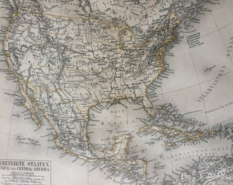 1878 United States, Mexico and Central America Large Original Antique Map - Available Mounted and Matted - Victorian Decor