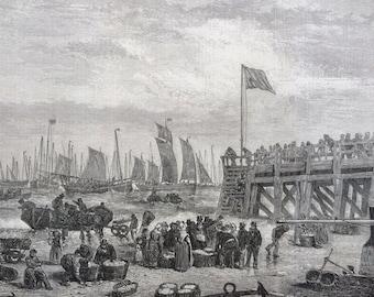 1858 The British Fisheries, The Beach at Yarmouth during Herring season Original Antique Engraving - Fishing Decor - Port - Norfolk England