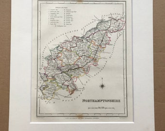 1845 Northamptonshire Original Antique Hand-Coloured Engraved Map - UK County Map - Available Framed - England