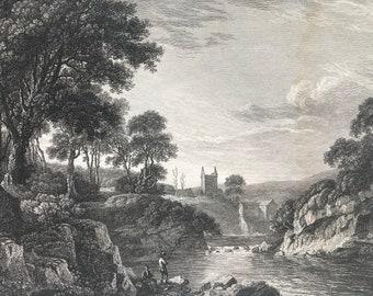 1817 Gillknocky Tower Dumfrieshire Original Antique Engraving - Scotland - Borders - Vintage Wall Decor - Available Framed