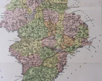 1884 Lanarkshire Original Antique Map - Scottish County, cartography, Scotland, Victorian Decor - Available Framed