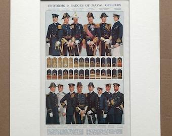 1940s Uniforms & Badges of Naval Officers Original Vintage Print - Mounted and Matted - Navy - Military Decor -  Framed Vintage Art