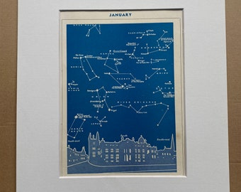 1940s January Star Map seen over Oxford Original Vintage Print - Mounted and Matted - Astronomy - Celestial Art - Available Framed