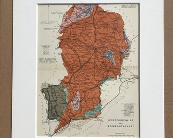 1913 Herefordshire and Monmouthshire Original Antique Small Geological Map - Devon - UK County Map - Geology - Available Framed