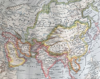 1897 Asia Original Antique Map - Mounted and Matted - Available Framed