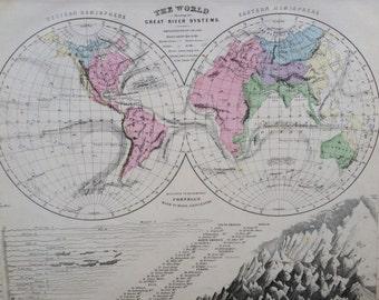 1869 Rare Original Antique World Map, 11 x 13.5 inches, historical wall decor, Cornell Atlas, Home Decor, Cartography, Geography