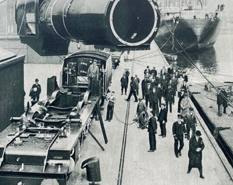 1933 'Royal Scot' Railway Train being shipped to Montreal Original Vintage Print - Mounted and Matted - Available Framed
