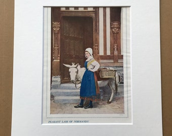 1940s Peasant Lass of Normandy Original Vintage Print - France - Mounted and Matted - Available Framed