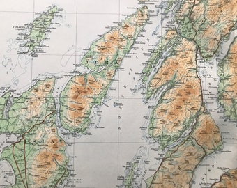 1924 Glasgow, Renfrewshire, Bute, Dumbarton, Hebrides Original Antique Ordnance Survey Panorama Map - Scotland - Cartography - Geography