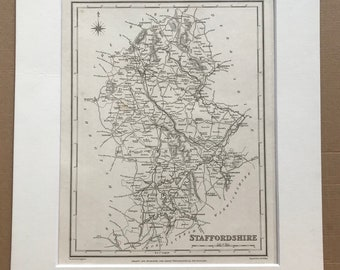 1845 Staffordshire Original Antique Engraved Map - UK County Map - Available Framed - England