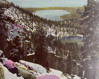 1944 Upper and Lower Angora Lakes, Fallen Leaf Lake & Lake Tahoe Original Vintage Print - California - Mounted and Matted - Available Framed