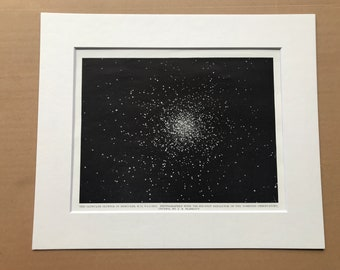 1923 Globular Cluster of Hercules Original Antique Print - Astronomy - Mounted and Matted - Available Framed