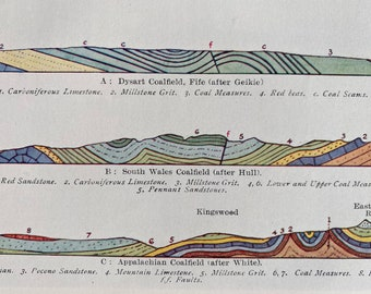 1931 Sections through Coalfields Original Antique Print - Geology - Mounted and Matted - Available Framed