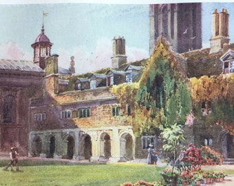 1907 A Court and Cloisters in Pembroke College, Cambridge University Original Antique Print - Mounted and Matted - Available Framed