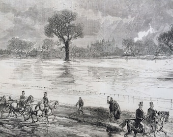1877 Floods at Eton College antique print from engraving, Illustrated London News, 19th Century History, Victorian Art, Wall Decor