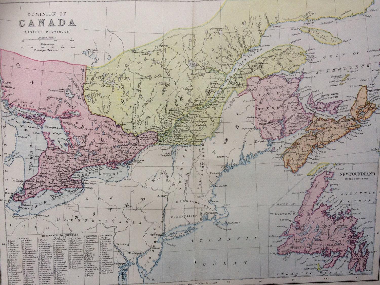 Map Of Canada In 1873.1873 Dominion Of Canada Eastern Provinces Original Antique