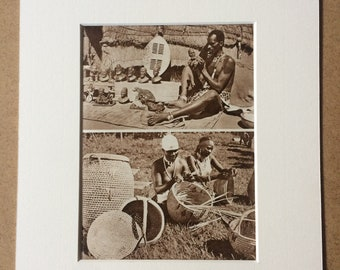 1940s Zulu Sculptor and Basket Makers Original Vintage Sepia Photo Print - South Africa - Mounted and Matted - Available Framed