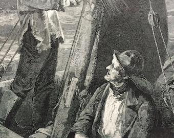 1883 Original Antique Engraving - 'A Cheering Gleam' - Victorian Decor - Fishing Boat - Fishing Decor - Conversation Piece