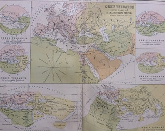 1876 Orbis Terrarum Original Antique Map - Classics - Ancient History World Map -  Gift Idea - Vintage Map - Wall Decor
