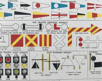 1940s Signalling by Sea, Land and Air Original Vintage Print - Mounted and Matted - International Code - Railway -  Available Framed
