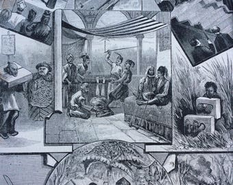 1883 Peculiar Punishment Original Antique Engraving - Available Framed - Macabre Decor - Curiosity - Conversation Piece