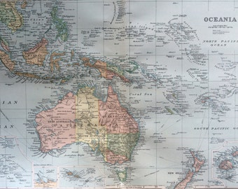 1898 OCEANIA Large Original Antique Map, 21.5 x 13.5 inches, Australia, Pacific Islands, New Zealand, Borneo, George W Bacon map
