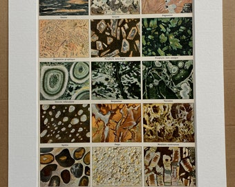 1897 Rocks Original Antique Print - Minerals - Mounted and Matted - Available Framed