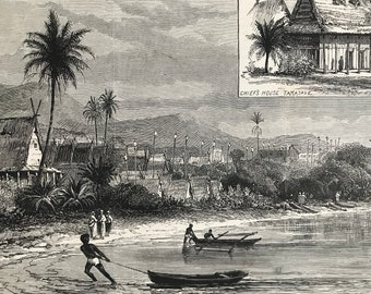 1883 View of Tamatave, Madagascar Original Antique Print - Africa - Inset engraving of Chief's House - Mounted and Matted - Available Framed